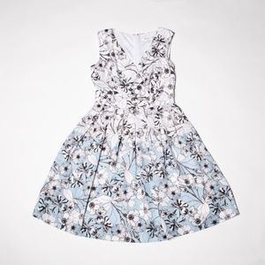 Blue border black & white floral work dress